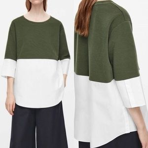 COS Olive Sweatshirt With White Shirt Hem